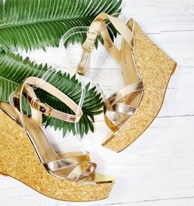 Boston Proper Shoes - Boston Proper Metallic Gold Cork Ankle Strap Wedge